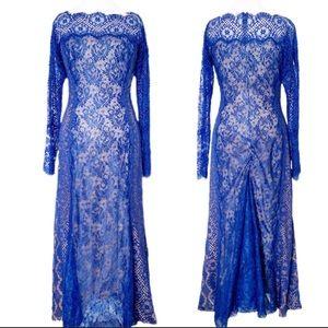NWT! Tadashi Shoji blue tan blue lace long sleeve